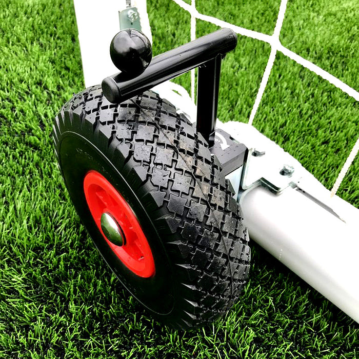 12×6 Selfweighted Wheeled Football 7v7 Goal Package: Mini Soccer Freestanding Aluminium (Pair)