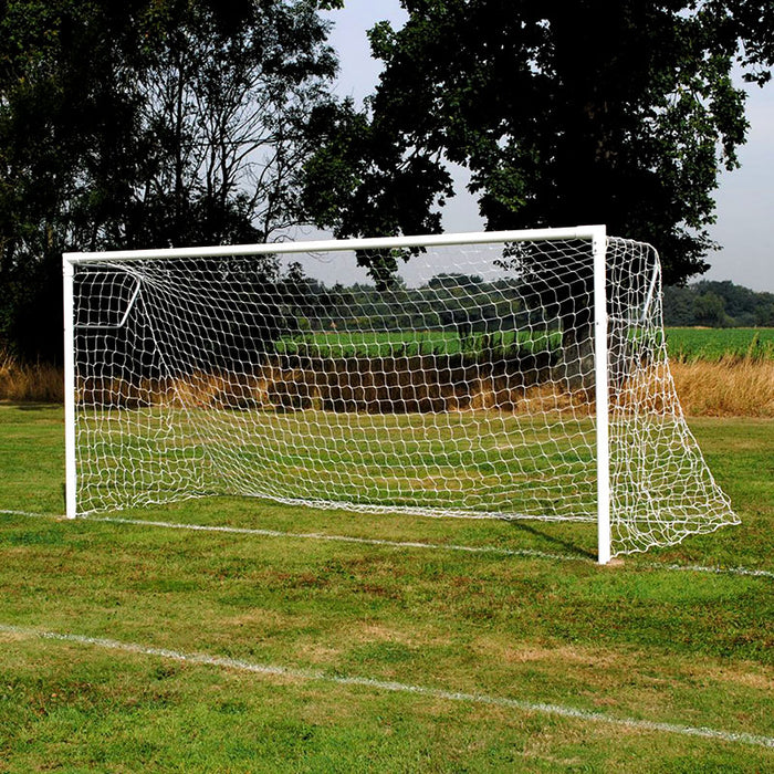 Extra Heavy Duty 76mm 16×7 Football Goal Package: 9v9 Socketed Steel (Pair)