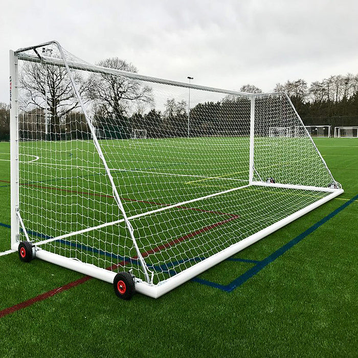 Youth Selfweighted Wheeled 21×7 Football Goals, 11-A-Side Freestanding Aluminium (Pair)
