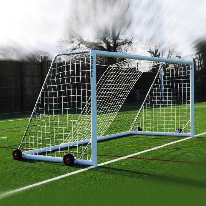 Wheeled 16×7 Football Goal Package: 9v9 Freestanding Aluminium (Pair)