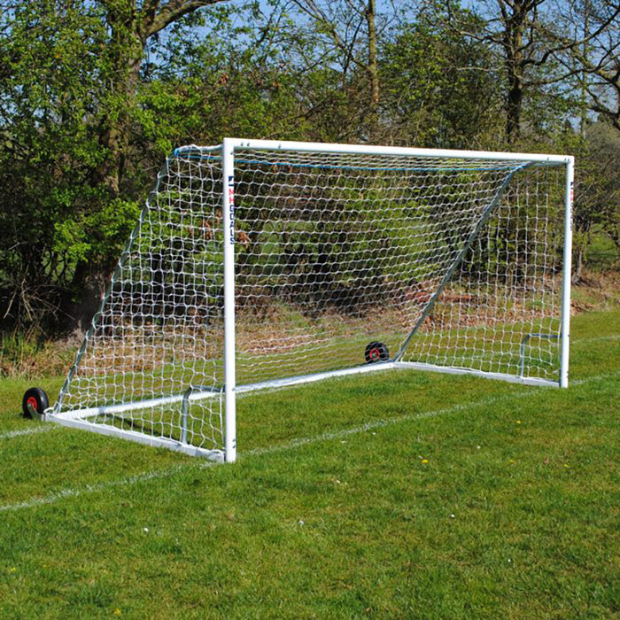12×6 Heavy Duty Wheeled Football 7v7 Goal Package: Mini Soccer Freestanding Steel (Pair)