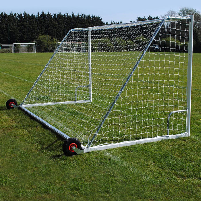 16×6 Heavy Duty Wheeled Football 7v7 Goal Package: Mini Soccer Freestanding Steel (Pair)