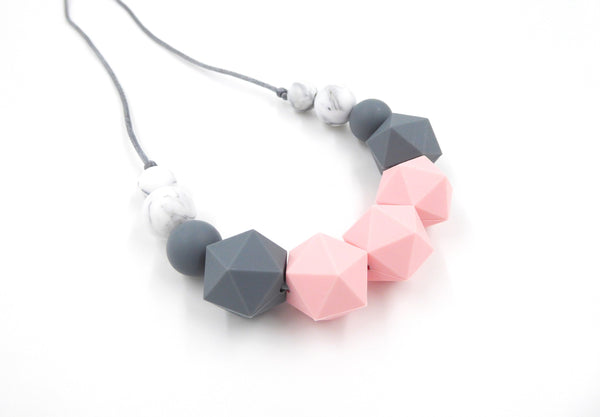 Pink, grey Teething Necklace