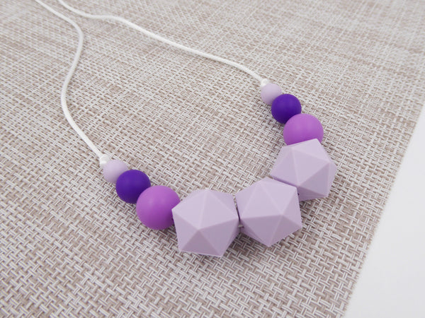 Silicone Teething Necklace Simple Lilac, purple