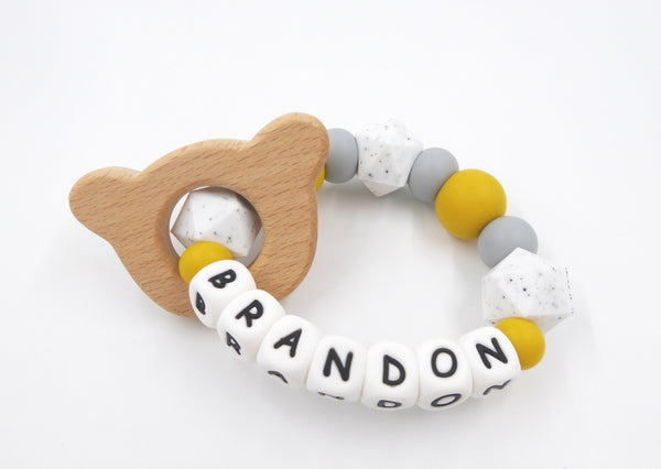 Personalised Teething Ring Mustard