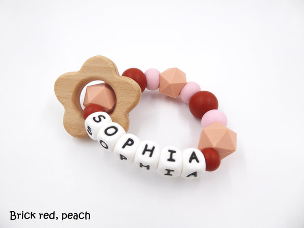 Personalised Teething Peach Brick Red