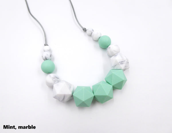 Teething Necklace Mint, Marble