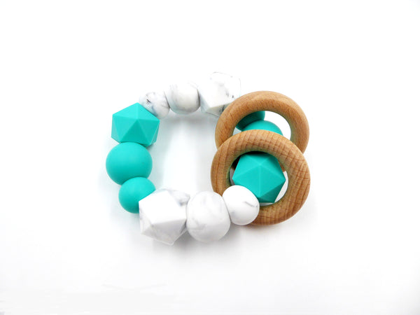 Teething Ring Turquoise, Marble