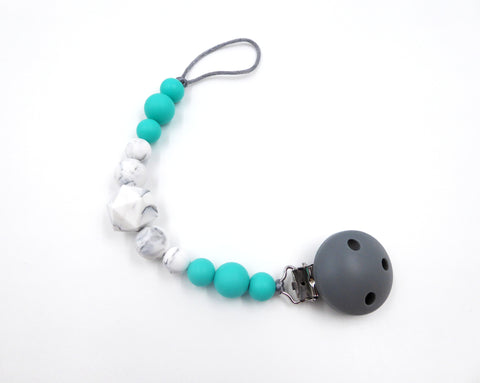 Pacifier clip Turquoise , marble