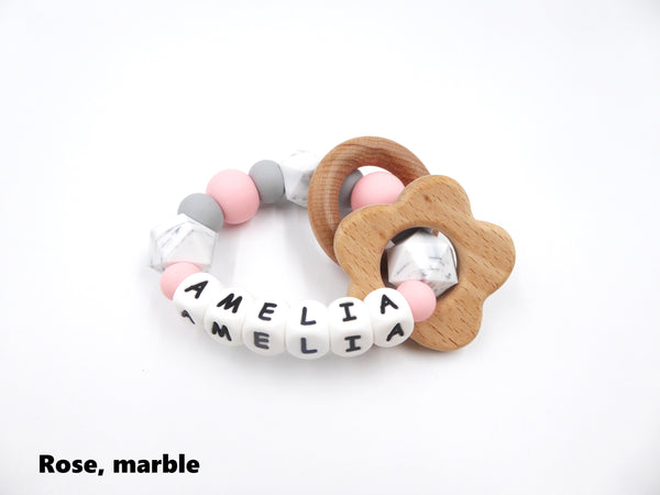 Personalised Teething Ring Rose pink, marble