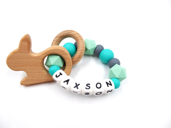 Teething Ring personalised Baby Name Teether Sensory Ring Silicone BPA free