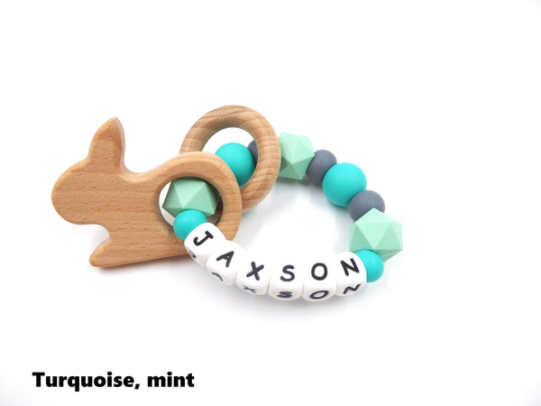 Personalised Teething Ring Turquoise
