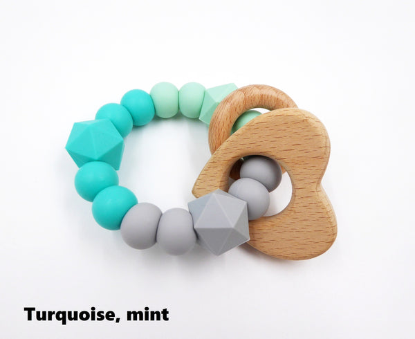 Baby Rattle Turquoise, mint