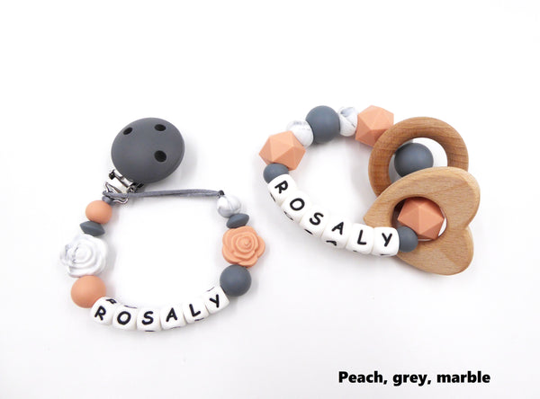 Teething set with pacifier clip and teething ring