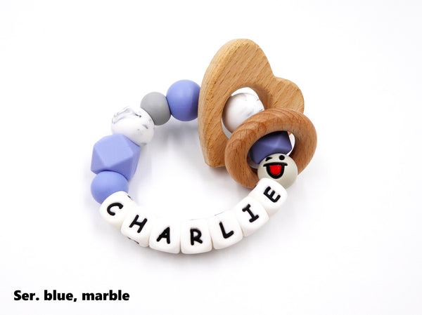 Personalised Teething Ring Serenity Blue, Marble