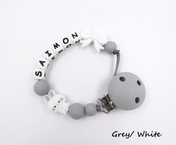 Personalised Pacifier clip Bunny and Bow Grey