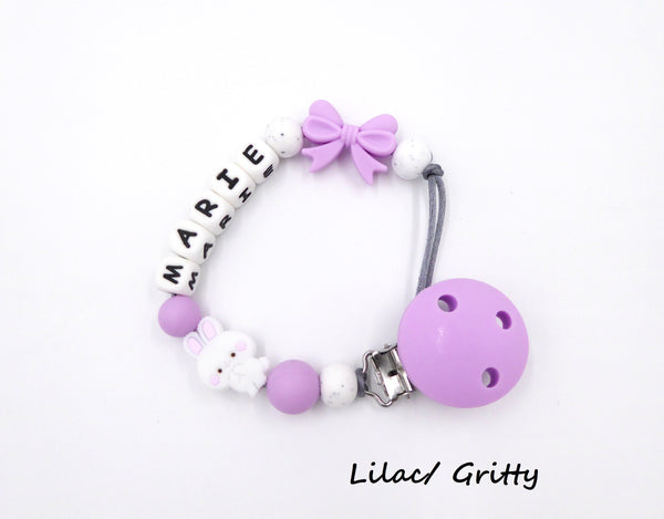 Personalised Pacifier clip Bunny and Bow Lilac