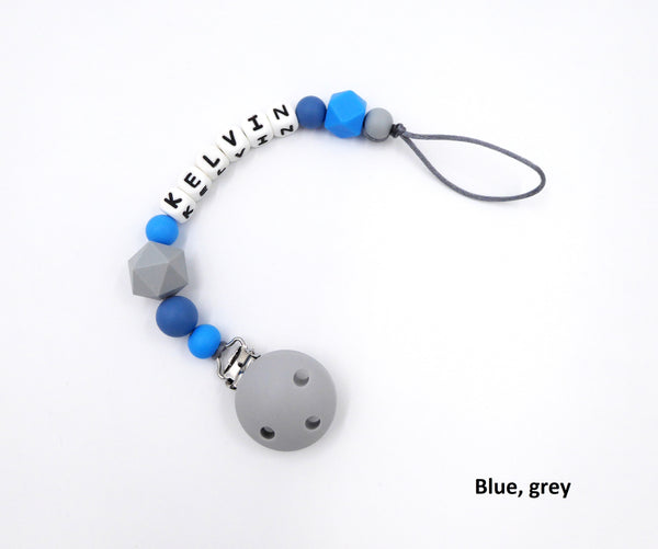 Personalised Pacifier clip Blue Grey