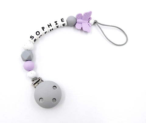 Personalised pacifier clip Butterfly Lilac Dummy Holder Soother Clip