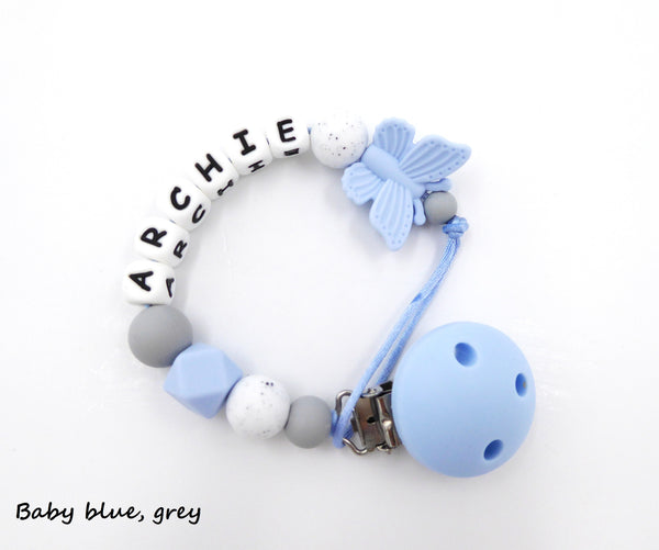 Personalised pacifier clip Butterfly Baby BlueDummy Holder Soother Clip