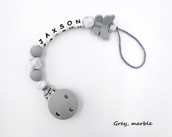 Personalised Pacifier clip Butterfly Grey marble