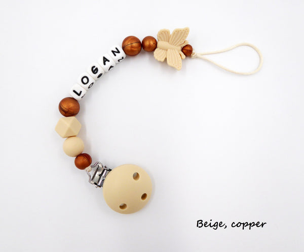 Personalised Pacifier clip Butterfly Beige Copper