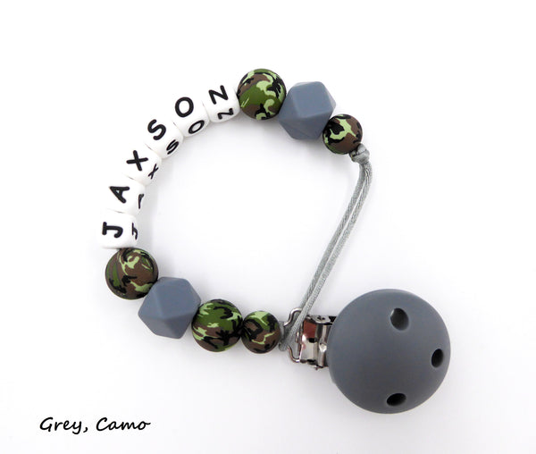 Personalised Pacifier clip Camo print with Grey