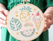 Load image into Gallery viewer, Beginner Embroidery Kit - Fruit & Ice Cream