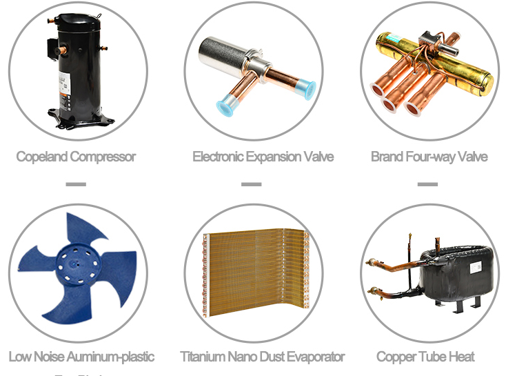 SIX CORE COMPONENTS FOR air ssource SWIMMING POOL HEATING SYSTEM