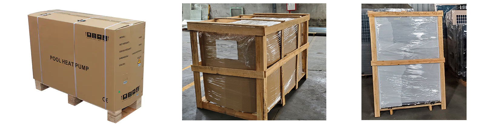 Different pool heat pump packaging materials