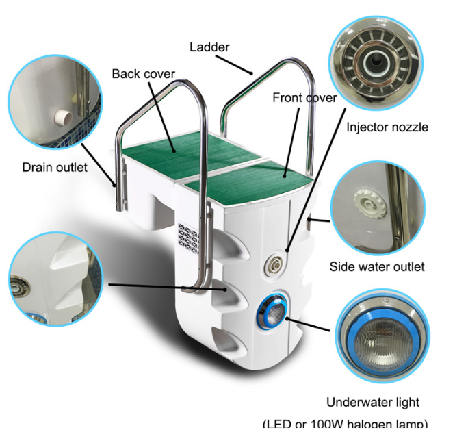 Portable Integrative Swimming Pool Filter , wall-hung pipeless Pool Filters For Inground Pools