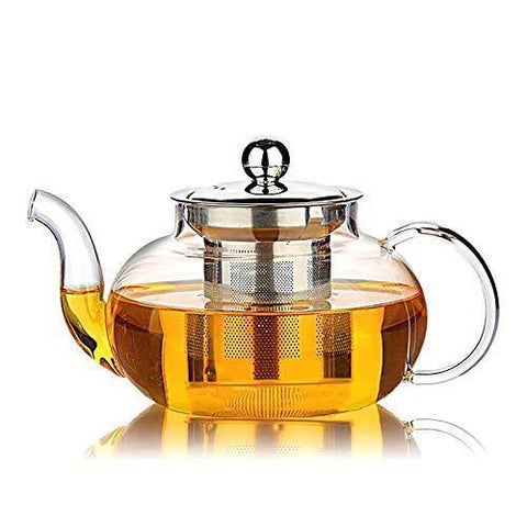 HIWARE Good Glass Teapot with Stainless Steel Infuser & Lid - Slushlyo
