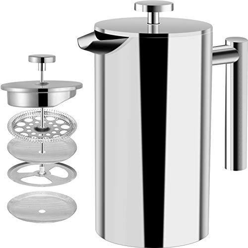 Utopia Kitchen Stainless Steel French Press - Double Wall 32oz - Slushlyo Tea & Coffee