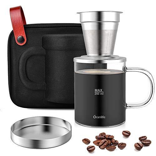 Pour Over Coffee Maker Set with Extra Permanent Stainless Steel Coffee Filter - Slushlyo Tea & Coffee