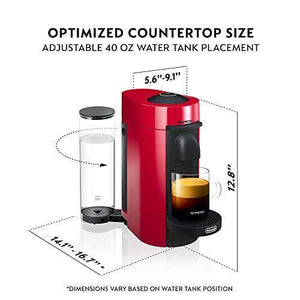 Nespresso VertuoPlus Coffee and Espresso Machine by De'Longhi, Red - Slushlyo