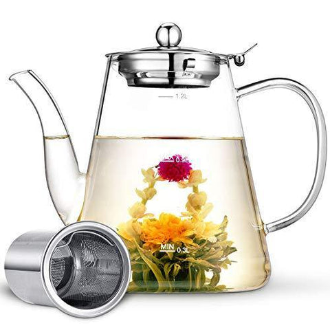 Glass Teapot, Zpose Tea Pot, Teapots, 40oz/1200ml Tea Pots - Slushlyo