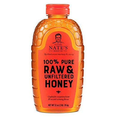 Nature Nate's 100% Pure, Raw & Unfiltered Honey, 32 oz. Squeeze Bottle; All-natural Sweetener, No Additives - Slushlyo Tea & Coffee
