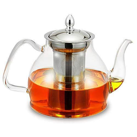 Glass Teapot Kettle with Stainless Steel Removable Infuser - Slushlyo