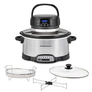 Hamilton Beach 2-in-1 Fry Slow Cooker with Air Fryer Lid, 6 Quarts, 4 Programmable Settings, Dishwasher Safe Crock, Black (33061), SILVER - Slushlyo