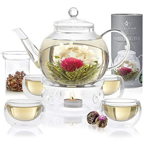 Teabloom Celebration Complete Tea Set – Stovetop Safe Glass Teapot - Slushlyo