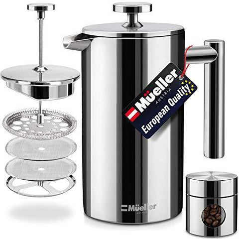 Mueller French Press Double Insulated Coffee Maker - Slushlyo