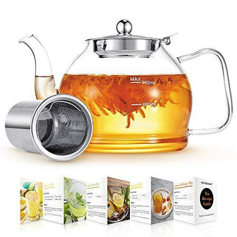 Glass Teapot, Glass Teapot with Removable Infuser, 40 oz Clear TeaPot - Slushlyo