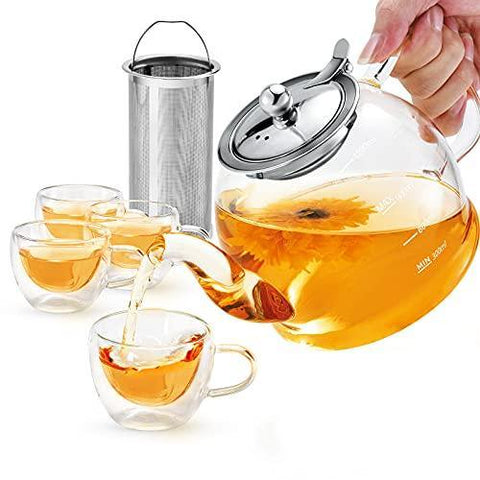 Glass Teapot Set, 40 oz./ 1200 ml Tea Set with 4 Double-Wall Glass - Slushlyo