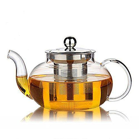 Hiware Glass Teapot with Removable Stainless Steel Lid & Infuser - Slushlyo