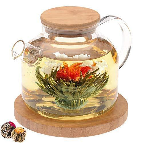 Teabloom Stovetop Safe Glass Teapot with Bamboo Lid (40oz/1200ml) - Slushlyo