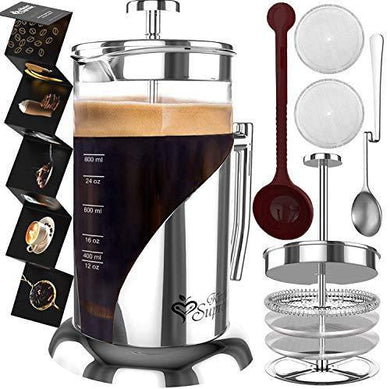 French Press Coffee Maker With Filtration System & Double German Glass - Slushlyo Tea & Coffee