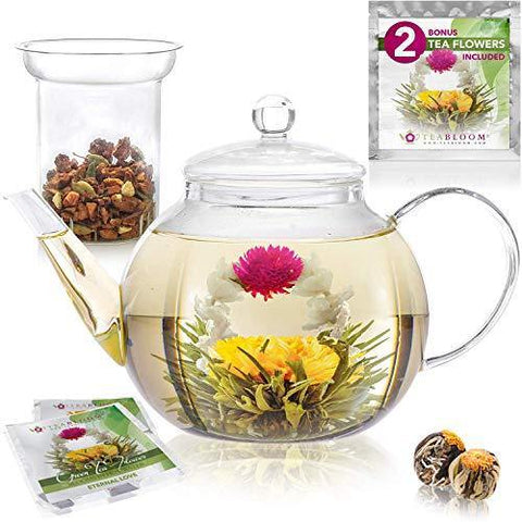 Teabloom Stovetop & Microwave Safe Glass Teapot (40 OZ / 1.2 L) - Slushlyo