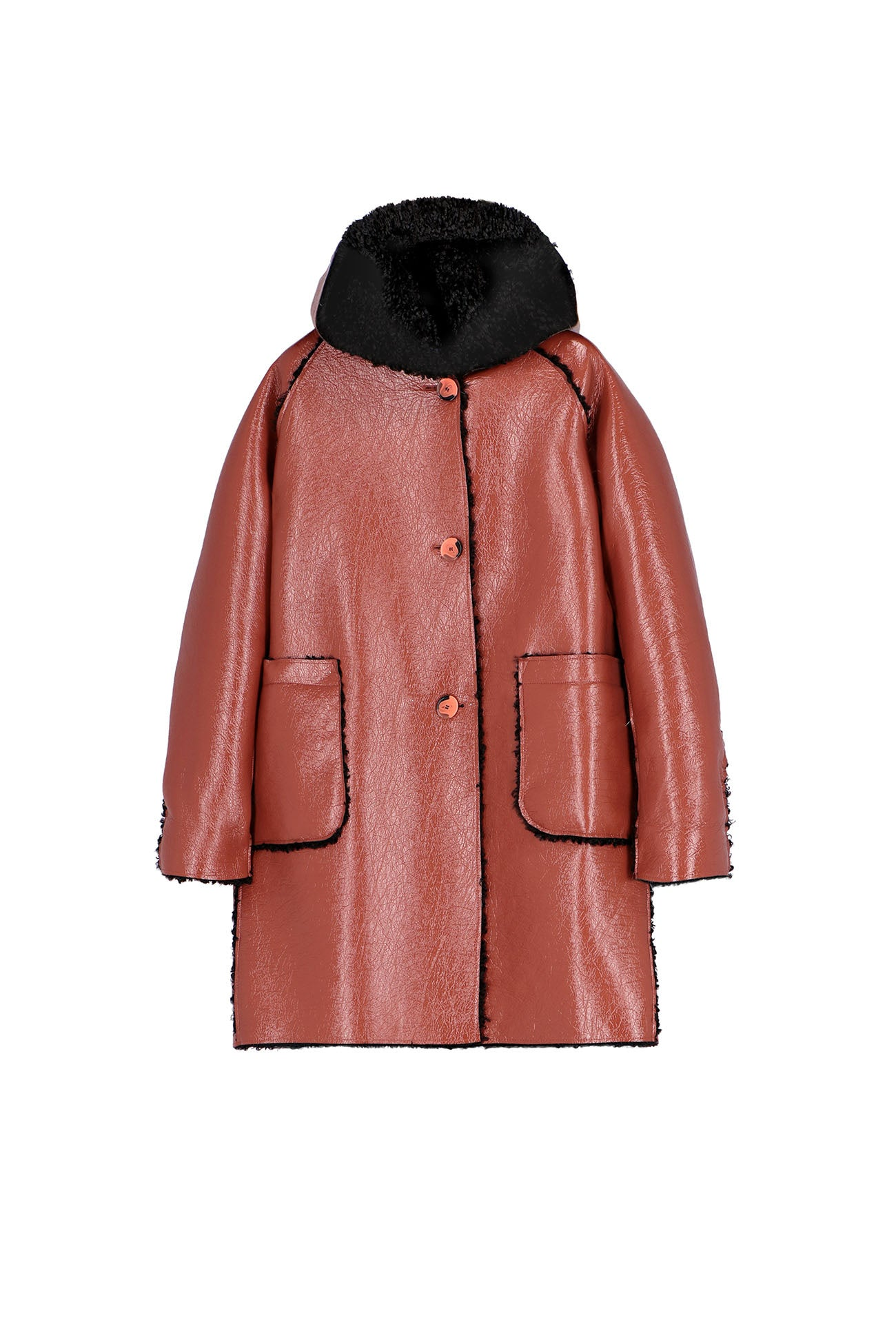 REVERSIBLE ECO CURLY SHEEPSKIN HOODED PARKA