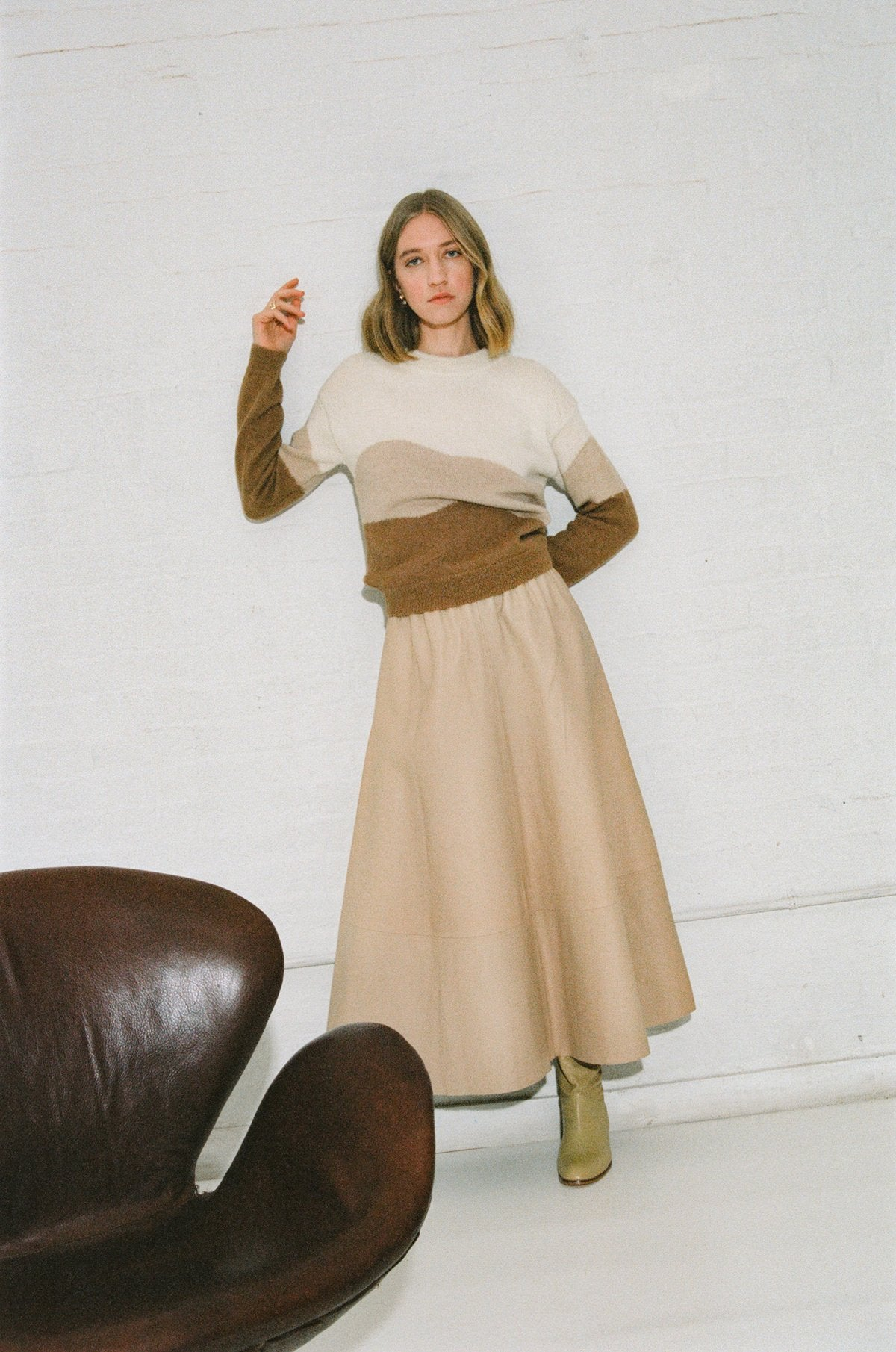 CANVAS LEATHER SKIRT