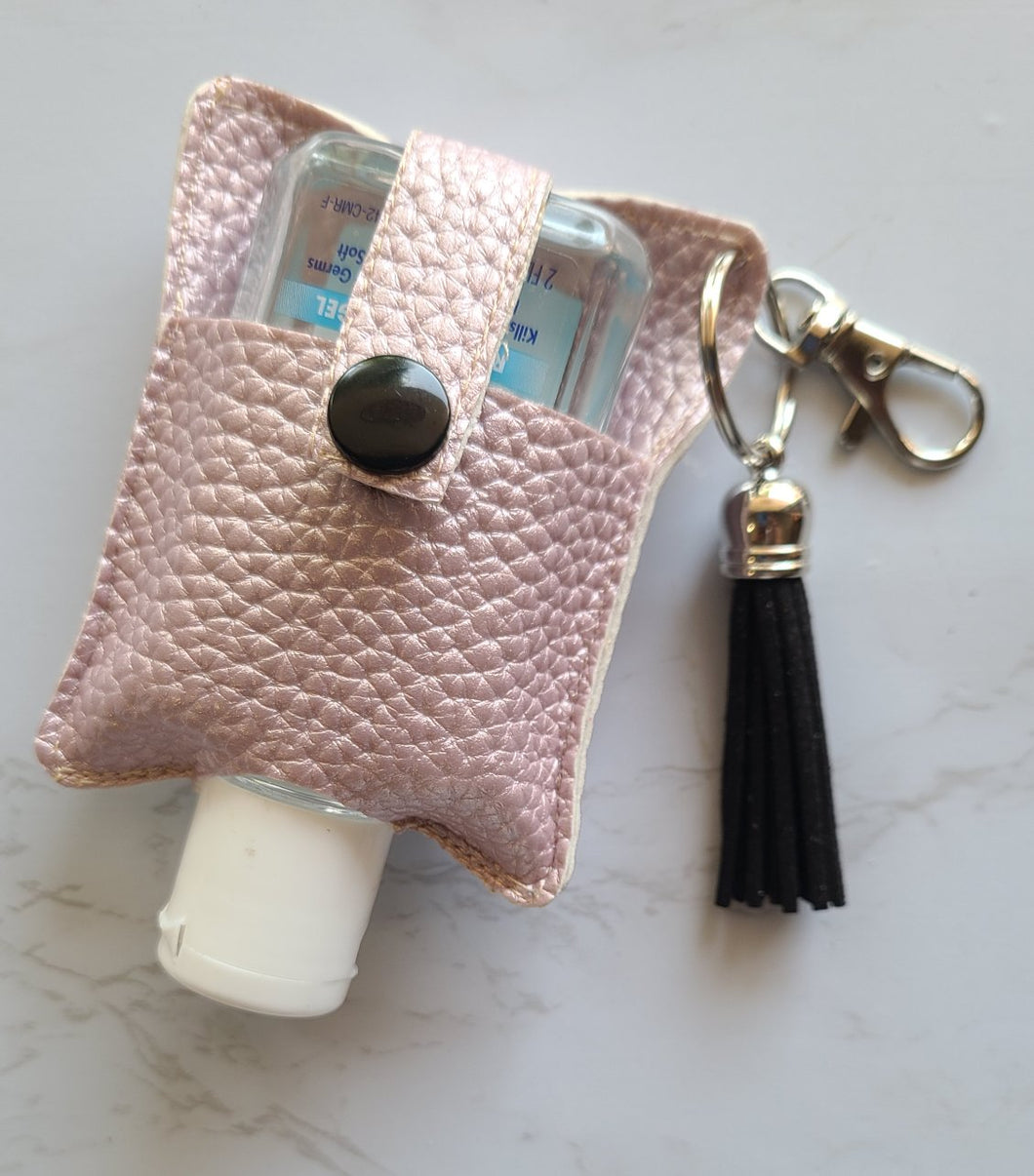 Faux Leather Holder- light pink and black